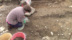 Archaeological cleaning - stock footage