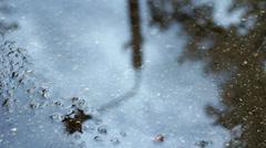 Rain Puddle Reflecting Street Light, Rack Focus HD - stock footage