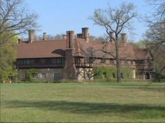 New Garden with Cecilienhof Palace, known for the Potsdam Conference  + pan Stock Footage