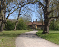 Entrance Cecilienhof Palace + pan Park New Garden Stock Footage