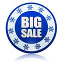 Stock Illustration of winter big sale blue circle banner with snowflakes symbol