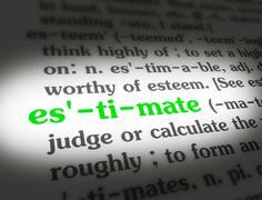Stock Media - Dictionary - Estimate - Green On White - stock photo