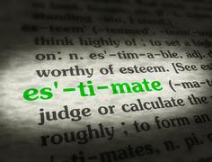 Stock Media - Dictionary - Estimate - Green On BG - stock photo