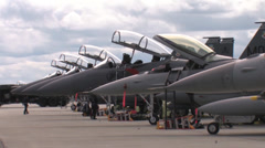 Jet Fighter flight line at Red Flag Alaska Stock Footage