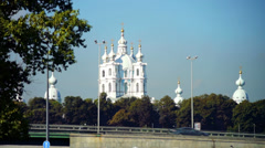 Summer view on Smolny Cathedral, Saint Petersburg, Russia Stock Footage