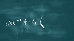 Drawing math formulas on a blue board Stock Footage