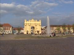 Potsdam City square Luisenplatz - pan Brandenburger Gate Stock Footage