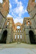 saint or san galgano uncovered abbey church ruins. tuscany, italy - stock photo