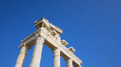Tourists sighseeing the Temple of Apollo ruins in Side Stock Footage