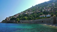 Stock Video Footage of Old fortress wall on sea shore in Alanya, Turkey