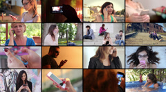 People using mobile smart phone montage - stock footage