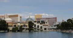 Ultra HD 4K Bellagio Fountain Las Vegas Strip Boulevard Mirage Treasure Island Stock Footage