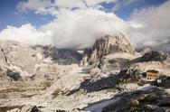 Stock Photo of Italy, South Tyrol, Dolomites, Alta Pusteria, Mountainscape with mountain hut