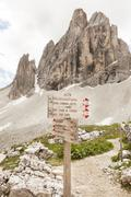 Italy, South Tyrol, Dolomites, Alta Pusteria, Mountainscape with signpost - stock photo