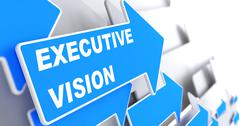 Executive Vision on Blue Arrow. - stock illustration