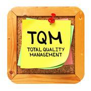 Stock Illustration of TQM. Yellow Sticker on Bulletin.