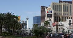 Ultra HD 4K Las Vegas Strip Boulevard, Venetian Hotel, Stratosphere Tower Stock Footage