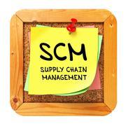 SCM. Yellow Sticker on Bulletin. - stock illustration