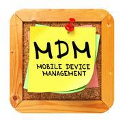 Stock Illustration of MDM. Yellow Sticker on Bulletin.