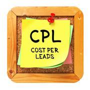 CPL. Yellow Sticker on Bulletin. - stock illustration