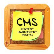 CMS. Yellow Sticker on Bulletin. - stock illustration