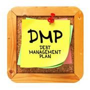 Stock Illustration of DMP. Yellow Sticker on Bulletin.