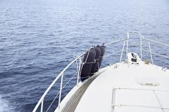 Italy, Fenders at bow of yacht - stock photo
