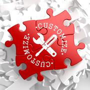 Customize Concept on Red Puzzle. - stock illustration