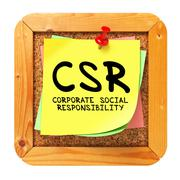 CSR. Yellow Sticker on Bulletin. - stock illustration