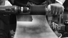 Wax removing with the drill - stock footage
