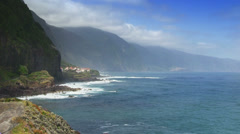 Madeira, north coast cliff, Ponta Delgada, Portugal Stock Footage