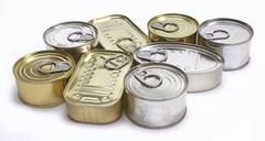 Different tin cans isolated on white Stock Photos