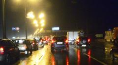 Rainy night highway Stock Footage
