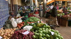 Mercado dos lavradores, fruit and vegetable market, Funchal, Madeira, Portugal Stock Footage