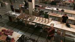 Mercado dos lavradores, fish market in the Funchal, Madeira, Portugal Stock Footage