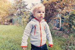 Germany, Bonn, Baby boy exploring garden - stock photo