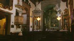 Inside of Nossa Senhora Church, Monte, Madeira, Portugal Stock Footage