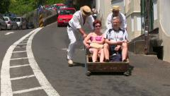 The toboggan run (sledges), Monte, Madeira, Portugal Stock Footage