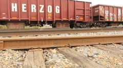 Train Engine Drive by Low Angle Dolly Stock Footage