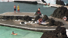Volcanic pool, Porto Moniz village, Madeira, Portugal Stock Footage