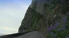 Old and very narrow tunnel, road to Santana , Madeira, Portugal Stock Footage