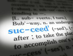Stock Photo of Stock Media - Dictionary - Succeed - Blue On White