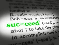 Stock Photo of Stock Media - Dictionary - Succeed - Green On White