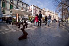 wood carving of the maternity, granada, spain - stock photo