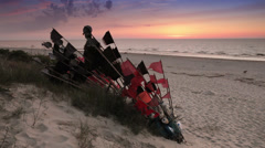 Flags flapping in the wind, Baltic Sea beach, Poland Stock Footage