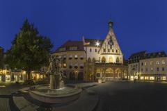 Germany, Bavaria, Amberg, View of Gothic town hall with wedding fountain - stock photo