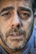 close-up of a sick man - stock photo
