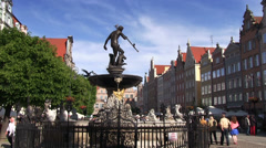 Gdansk, Old Town, Neptune fountain, Poland Stock Footage