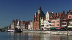 Gdansk, Old Town, River Motlawa, Poland Stock Footage