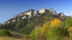 Pieniny Mountains, view to Trzy Korony Peak, Poland Stock Footage